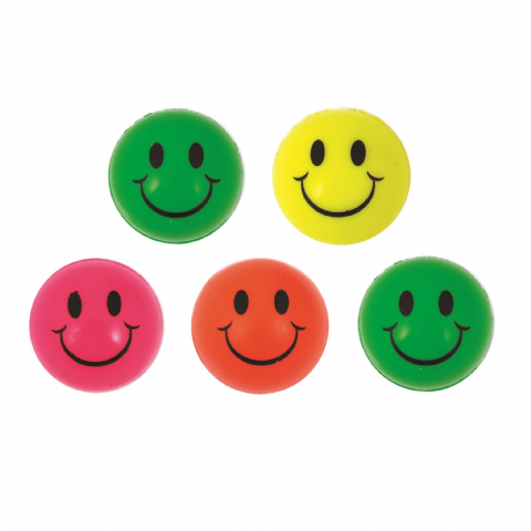 Neon Smile Face Balls - Assorted Colours Bouncy Jet Ball 35mm